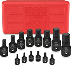 """Neiko 01142B Impact Grade Allen Bit Socket Set, SAE Hex Driver, 3/32"""" to 3/4""""   14-Piece Set, 1/4"""", 3/8"""" and 1/2-Inch Drive, Cr-Mo, One-Piece Construction"""