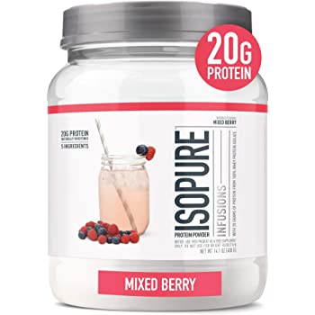 """Isopure Infusions, Refreshingly Light Fruit Flavored Whey Protein Isolate Powder, """"Shake Vigorously & Infuses in a Minute"""" Mango Lime, 16 Servings"""