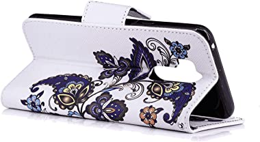 LindaCase PU Leather Flip Cover Compatible with iPhone Xs, butterfly1 Extra-Shockproof Card Holders Kickstand Wallet Case for