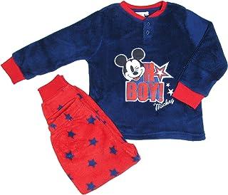 Disney - Pijama infantil de Mickey Mouse de invierno de suave coral en Serafino con muñecos, 3/8 años – 7429 navy 3 años