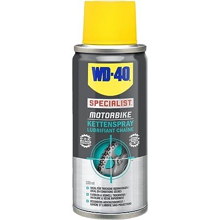 WD-40 Specialist Moto • Lubrifiant Chaîne • Aérosol • Idéal On-road et conditions sèches • Propriétés anti-éclaboussures • Format Pocket • Compatible joints toriques en O, X et Z • 100 ML