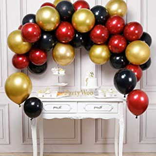 PartyWoo Burgundy Black Balloons, 45 pcs Red and Black Balloons, Gold Black and Red Balloons, Burgundy Balloons, Metallic Gold Balloons for Red and Black Party Decorations, Red Gold Party Decorations
