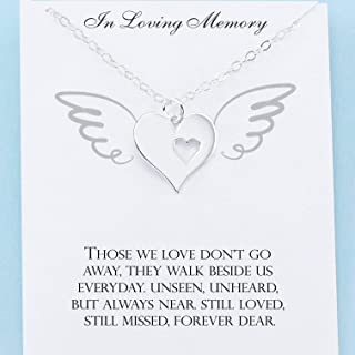 In Memory Of • Custom Memorial Charm Necklace • Sterling Silver Heart • Grief Jewelry • Sympathy Gift