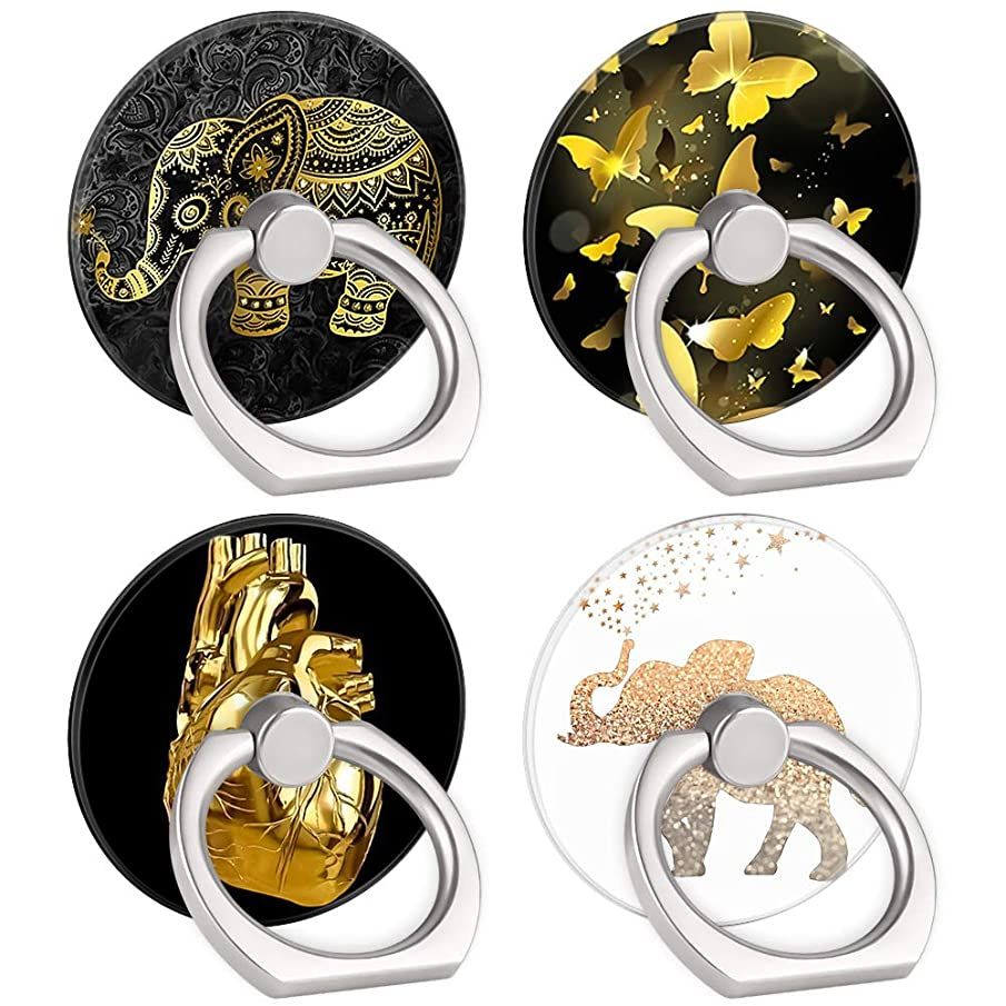 4-Pack Phone Ring Holder Gold Elephant Butterfly Heart 360 Degree Rotation Finger Ring Stand Holder Grip Kickstand Compatible with Smartphones and Tablets