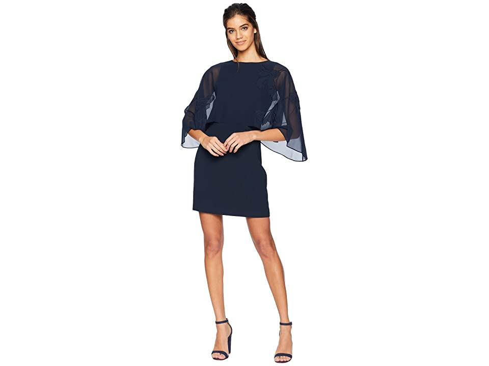 Halston Heritage Cape Sleeve Dress Floral Embroidery (Dark Navy) Women