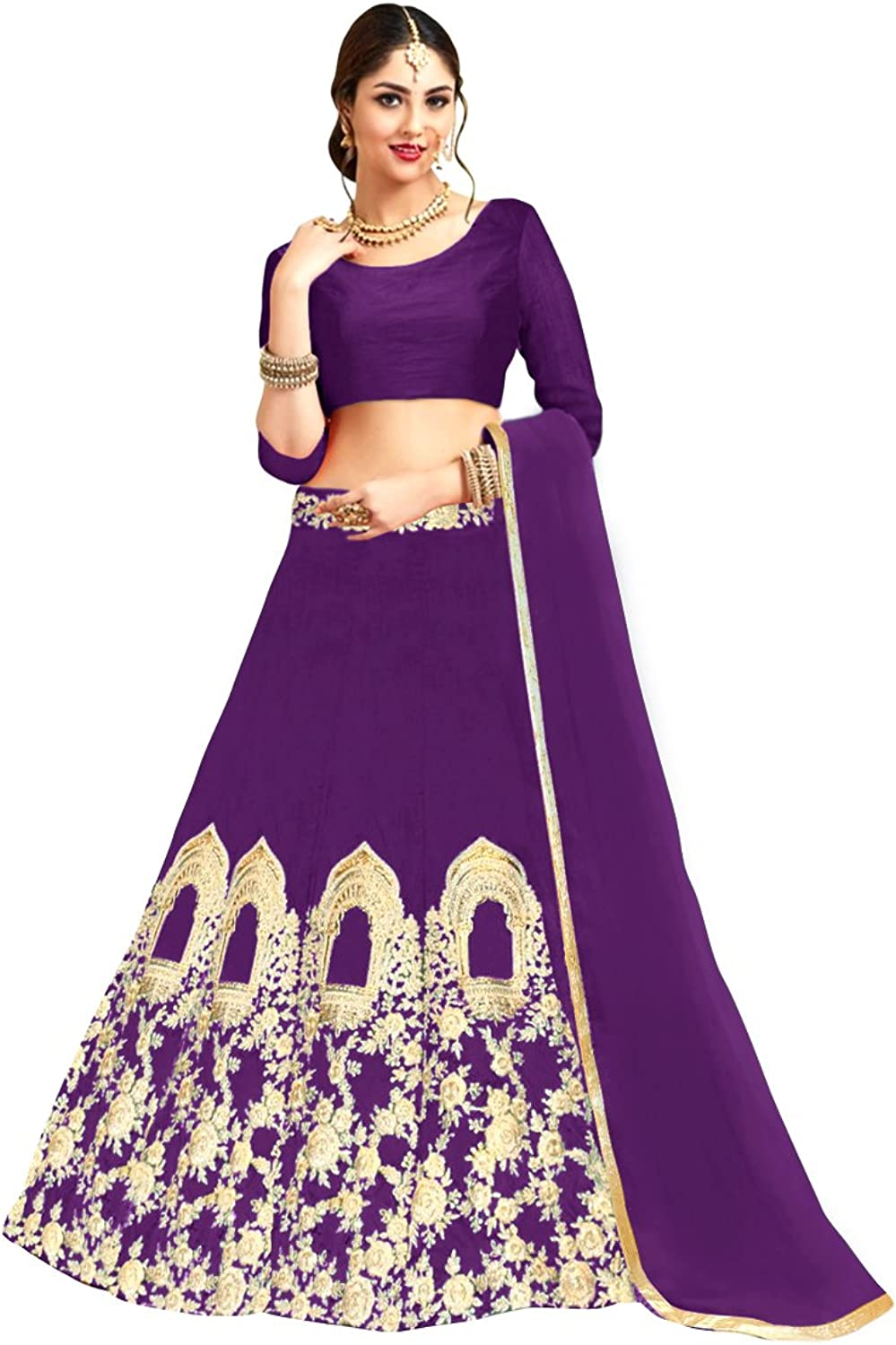 1 Stop Fashion Purple color Tafeta With Heavy Embroidery Work SemiStitched Lehenga Choli