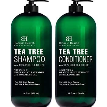 Botanic Hearth Tea Tree Shampoo and Conditioner Set - with 100% Pure Tea Tree Oil, for Itchy and Dry Scalp, Sulfate Free, Paraben Free - for Men and Women - (Packaging May Vary) - 16 fl oz x 2