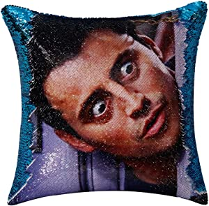 CARLOTA Friends TV Show Joey Tribbiani Flip Sequin Pillow Cover Magic Reversible Cushion Case Funny Mermaid Pillow Cover Funny Gag Gift for Her Him(Lake Blue)