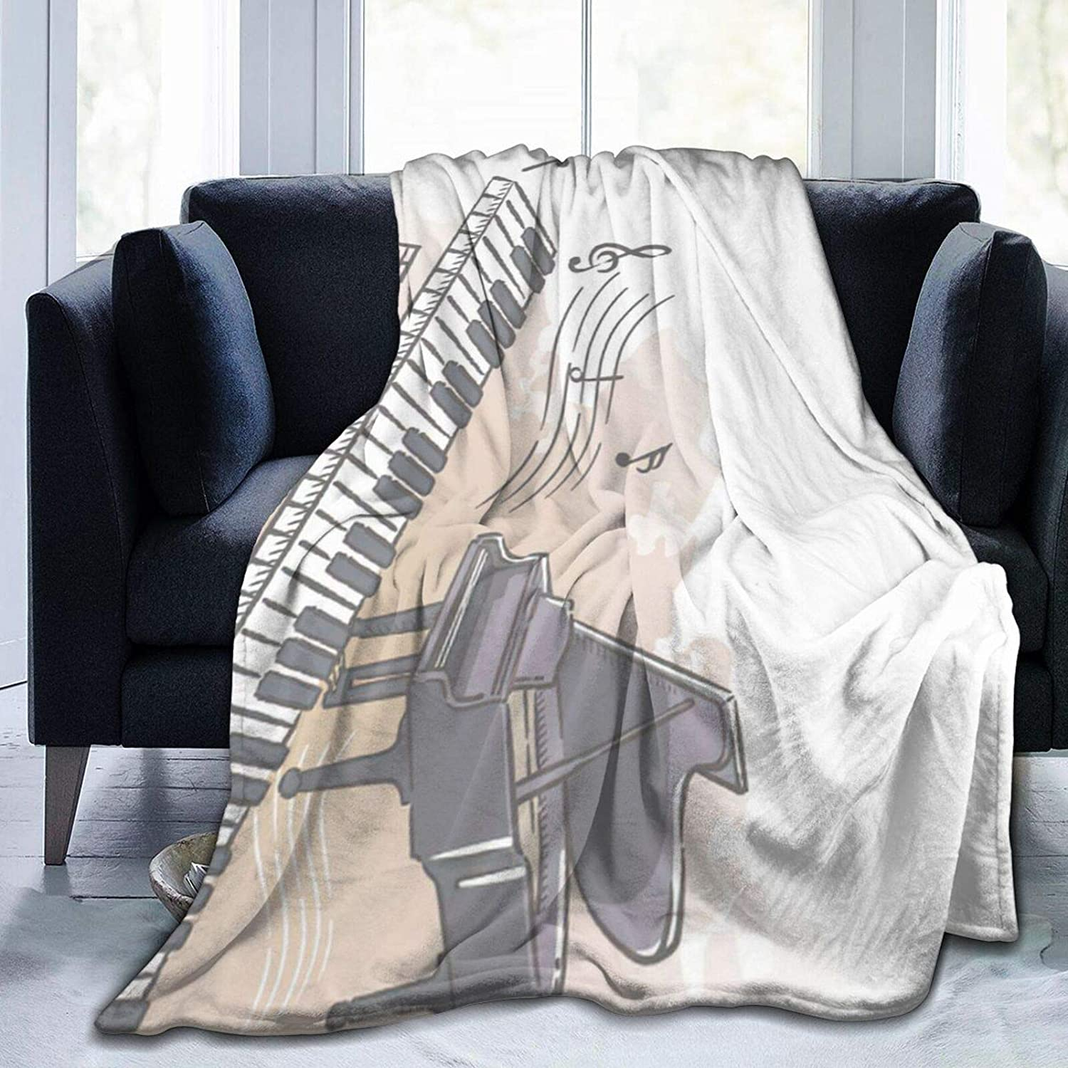 Over item handling Piano and Musical Notes Blankets Microfiber Flannel Lightweight Direct store