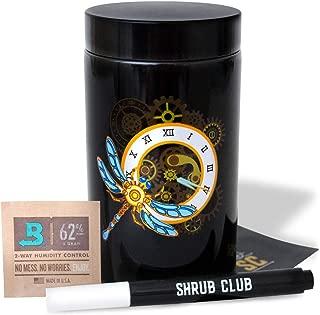 Shrub Club - Smell Proof Jar Set, Black Glass with UV Protection, Half Oz (250ml) with Odor-Proof Bag and Bovida Humidity Pack - Airtight Jars for Fresh Stash (Dragon Fly)