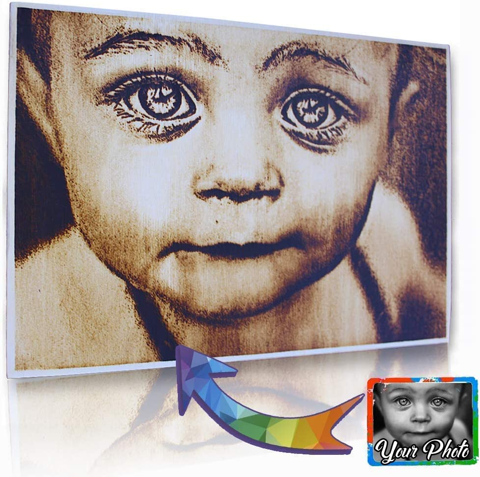 OMGGIFT Personalized Wood Burnt Pyrography Custom Max 81% OFF Phot Picture Finally resale start