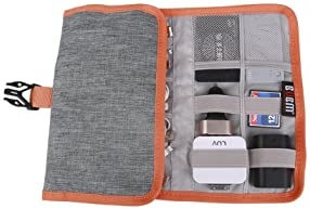 Electronic Organizer, BUBM Travel Cable Bag/USB Drive Shuttle Case/Electronics Accessory Organizer for Home Office-Grey