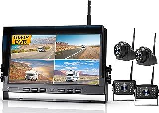 "$489 » Fursom 10.2"" 1080P DVR Wireless Backup Camera System Kit, HD Quad Split Monitor, Side Rear View Camera x 4, IP69 Waterproo..."
