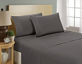 Elegant Comfort 1500 Thread Count Embroidered Egyptian Quality Luxurious Silky Soft Hypoallergenic Wrinkle & Fade Resistant 3-Piece Bed Sheet Set, Deep Pocket Up to 16, Twin, Navy
