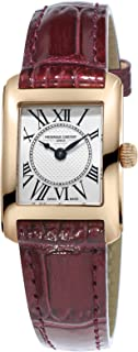 Frederique Constant Women's Carree Stainless Steel Swiss-Quartz Watch with Leather Calfskin Strap, Brown, 15 (Model: FC-200MC14)