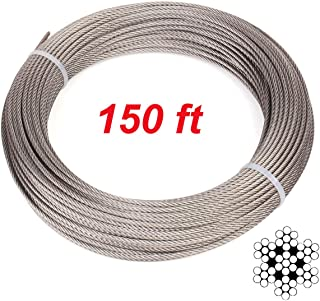 UGarden 150 Feet 1/8 Inch 7x7 T316 Marin Grade Stainless Steel Aircraft Wire Rope Cable for Deck Stair Railing Hardware DIY Balustrade