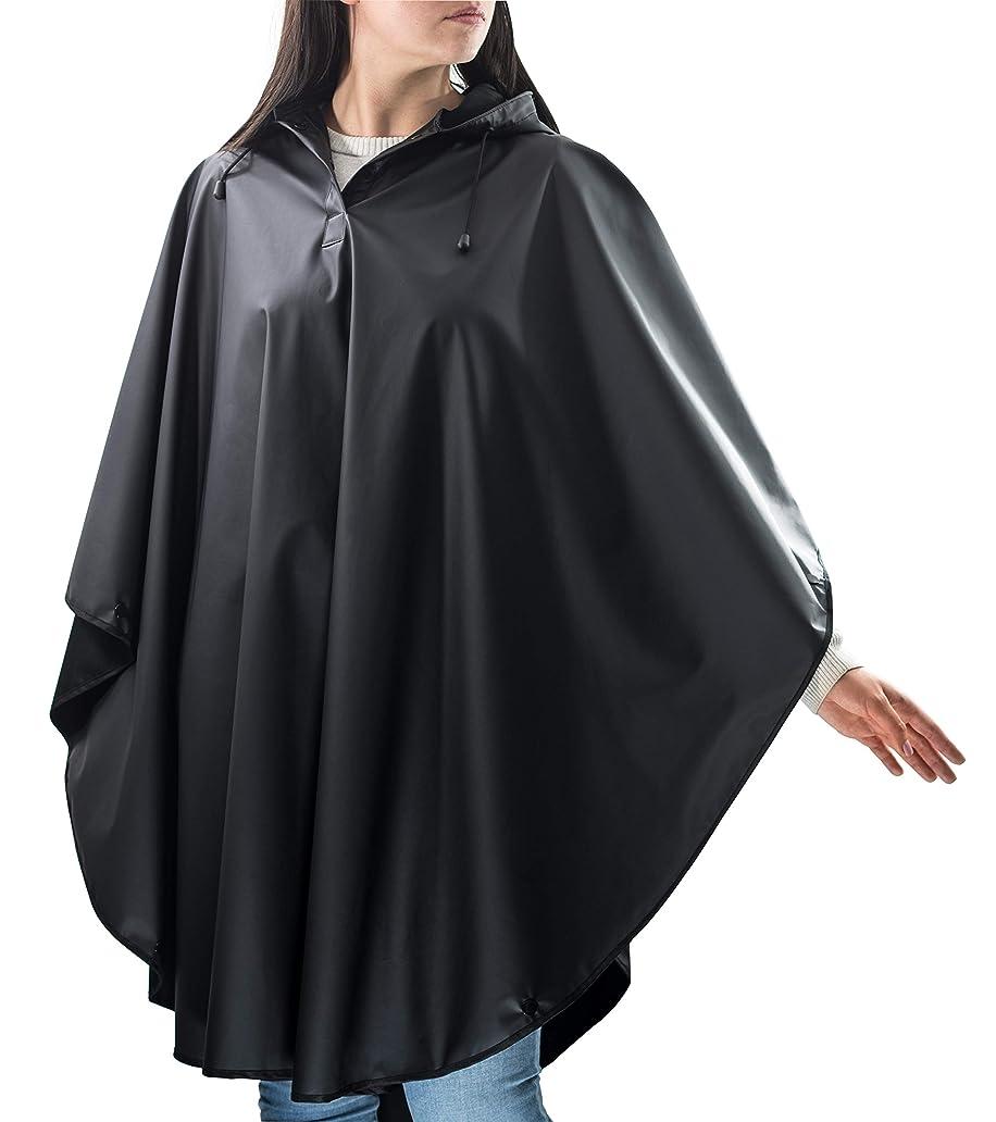 進化努力する電気レインポンチョ パッカブルレインコートジャケット – 再利用可能なポンチョ メンズ/レディース 大人用 ワンサイズ 防水ギア 引き紐バッグ付き 旅行やアウトドア活動に最適