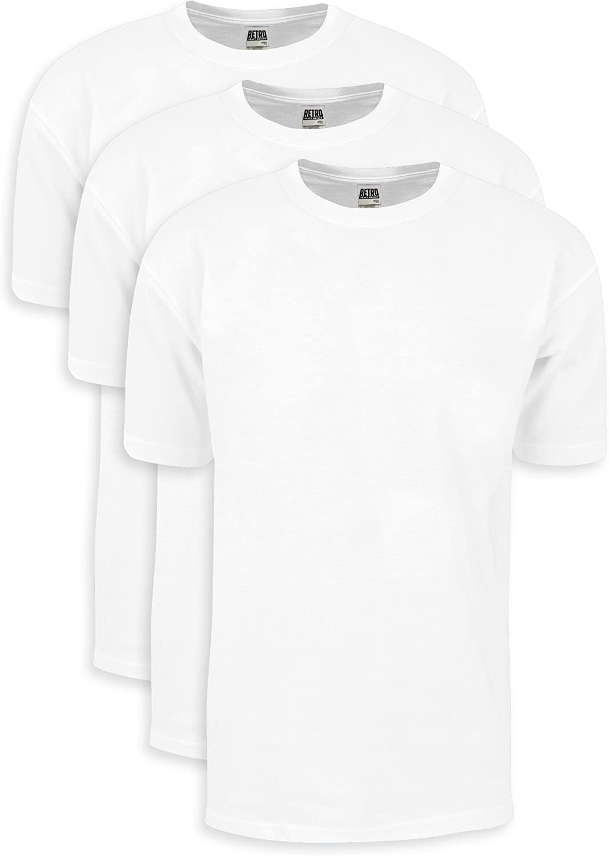 Shaka Wear Men's Cotton T-Shirt – Heavyweight Soft Retro Short Sleeve Crew Neck Plain Tee Top Tshirts Regular Big Size