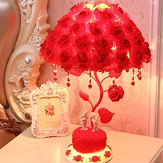 RUIDA Table Lamp, Rose Shade Lamp Desk Lamp, Rose Flower Tree Light for Living Room Bedroom Lamps, Bedside Reading Lamps & Jewelry Box, Resin Base, G14 2700k 500Lm 6W E26 Bulb Plug Power No USB (Red)