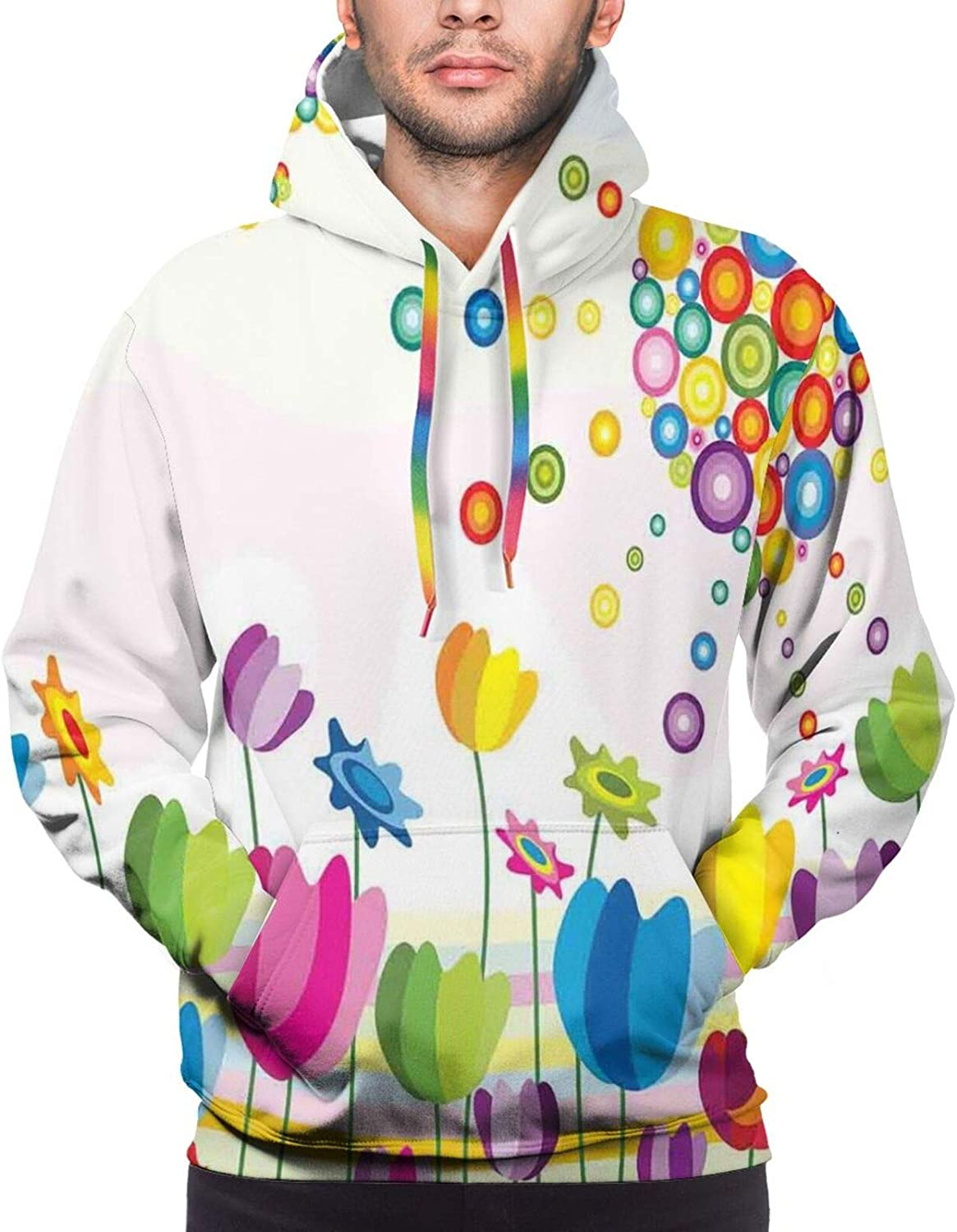 Men's Hoodies Sweatshirts,Abstract Illustration of Calming Celestial Scene On A Sunny Day