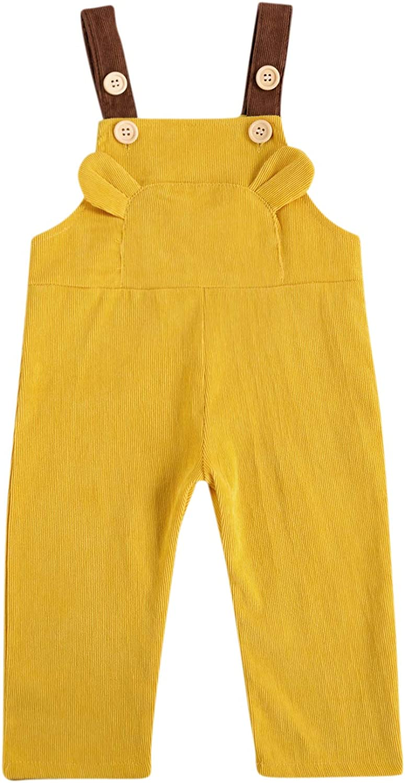 Seyurigaoka Cute Baby Boy Girl Corduroy Overalls Solid Suspender