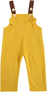 Mebilee Toddler Baby Girl Boy Corduroy Overalls Solid Bib Trousers Suspender Pants Jumpsuit with Pockets