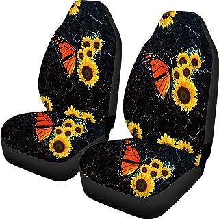 POLERO Capa de assento dianteiro de carro com estampa de borboleta e girassol, 2 peças, capas macias para assentos de auto...