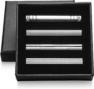 Vignac 4本セット ネクタイピン メンズ ファッション シンプル 日常仕事 結婚式 スーツ ビジネス 真鍮製 タイピン おしゃれ 高級 ギフトボックスを提供 (vic-01-18)