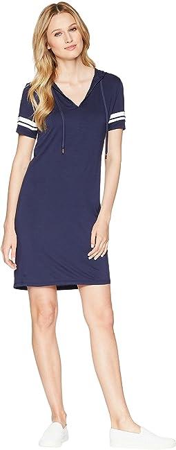 Stripe Sleeve Hoodie Dress