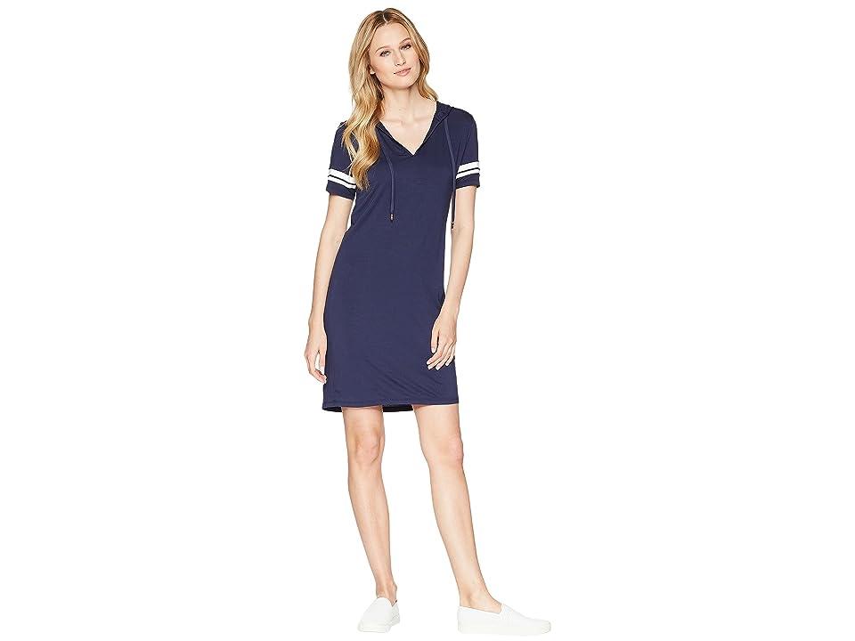 MICHAEL Michael Kors Stripe Sleeve Hoodie Dress (True Navy) Women