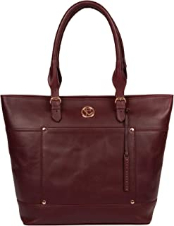 Pure Luxuries London Women Burgundy Solid Genuine Leather Monet Tote bag