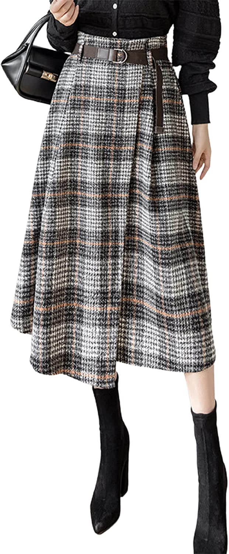 CHARTOU Women's Elegant Back-Elastic Waist Faux Wrap Wool Blend A-Line Skirt