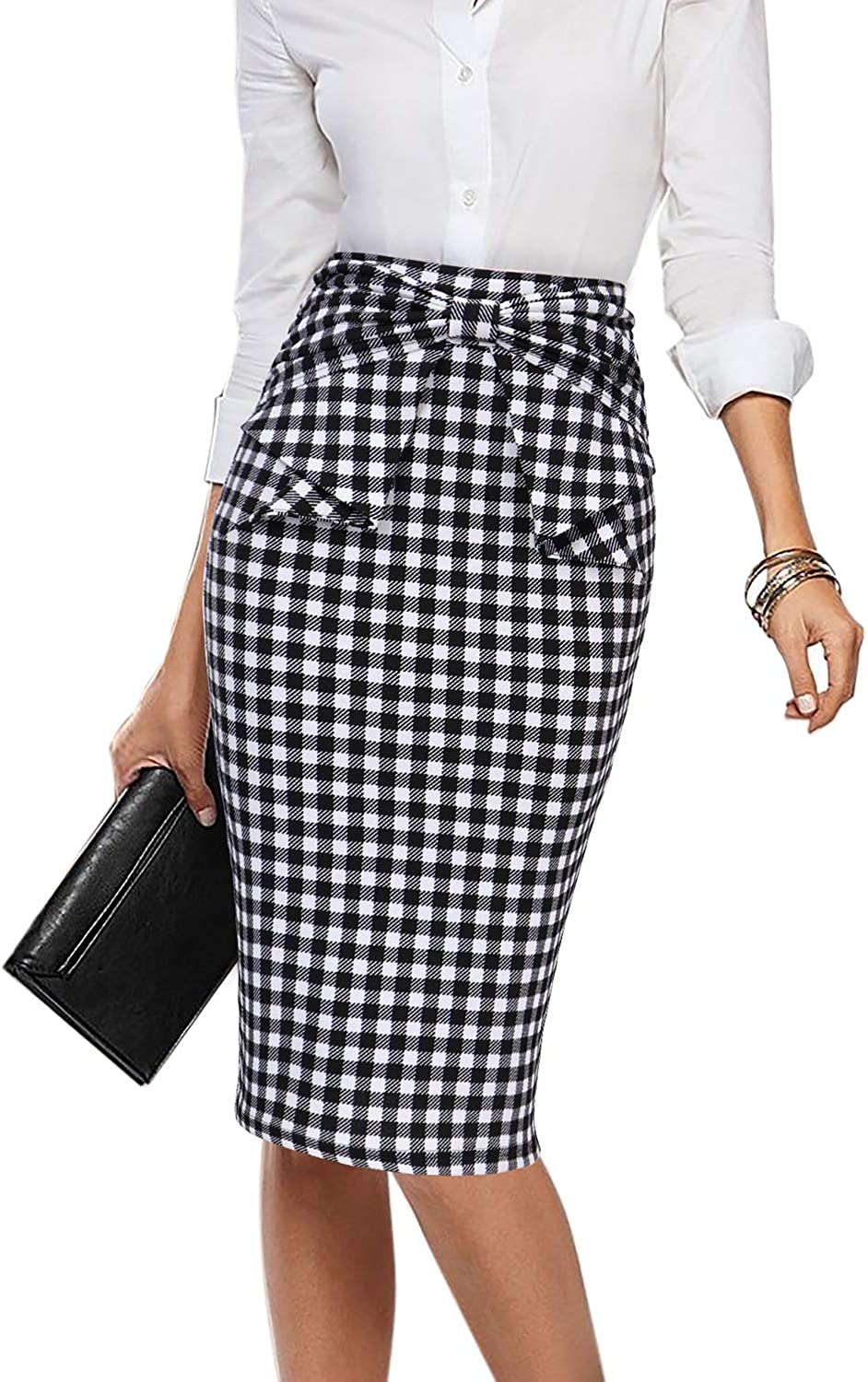 VFSHOW Womens Black and White Plaid Pleated Bow High Waist Slim Work Office Business Pencil Skirt 2395 TAT S