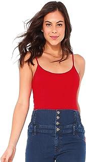 Camiseta Lisa Finos Tirantes Espagueti Mujer - 112004,Rojo,XXL