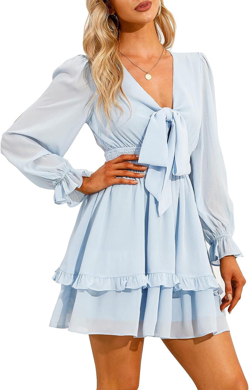 EXLURA Women Tie Front Elastic Waist Tiered Ruffle Layer Floral Balloon Long Sleeve V-Neck A-Line Mini Dress Light Blue