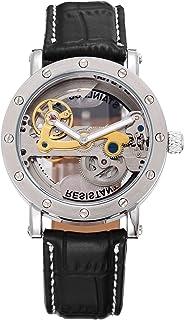 [エーエムピーエム24]AMPM24 メンズ 自動巻き 機械式 腕時計 スケルトン アナログ シルバー ケース ブラック レザー PMW150