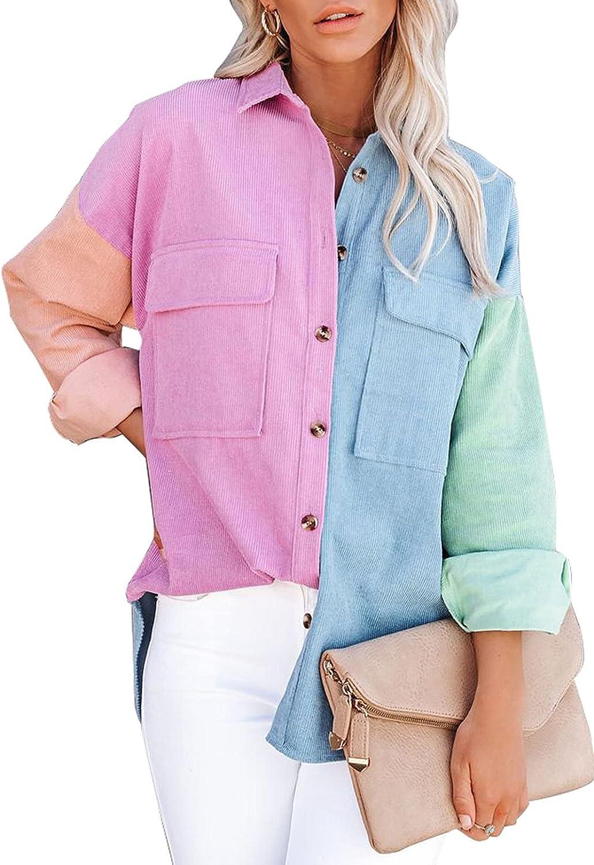 Award-winning store In a popularity Sidefeel Women Corduroy Long Sleeve Oversized Down Shirt Button