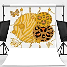 Animal Print with Chains Theme Backdrop Photography Polyester Backdrop,Straps and Brushes,5x7ft