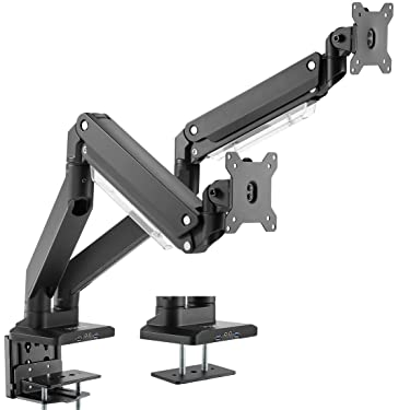VIVO Premium Aluminum Dual Monitor Pneumatic Spring Arms Desk Mount Stand with USB 3.0 and Audio/Mic Ports, Fits 2 Screens up to 32 inches, STAND-V102G2U