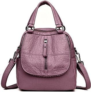 Mode Rucksack, JOSEKO Frau High-End Multifunktion Weich PU Leder Handtasche Doppelschicht Grosse Kapazität Rucksack Violett