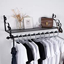 Storage Wrought Iron Coat Rack Shelf Wall Mounted, Hanging Closet with Clothing Rods, Garment Hanger for Daily Clothes, Ha...