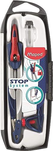 Maped - Coffret Compas Maped Stop System 3 pièces - Système de Verrouillage Breveté - Tracé Parfait - Avec Sécurité P...