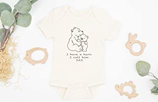 Dad Hero Baby Bodysuit, Organic Cotton, New Baby Outfit, Baby Announcement Outfit, Organic Baby Outfit, Father's Day Gift, Baby Shower Gift