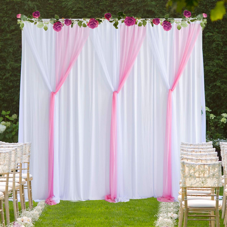 Hbbmagic Tüll Foto Hintergrund Weiß Rosa 150 Cm 215 Cm Chiffon Vorhäng Für Fotostudio Hochzeit Raumdekoration Küche Haushalt