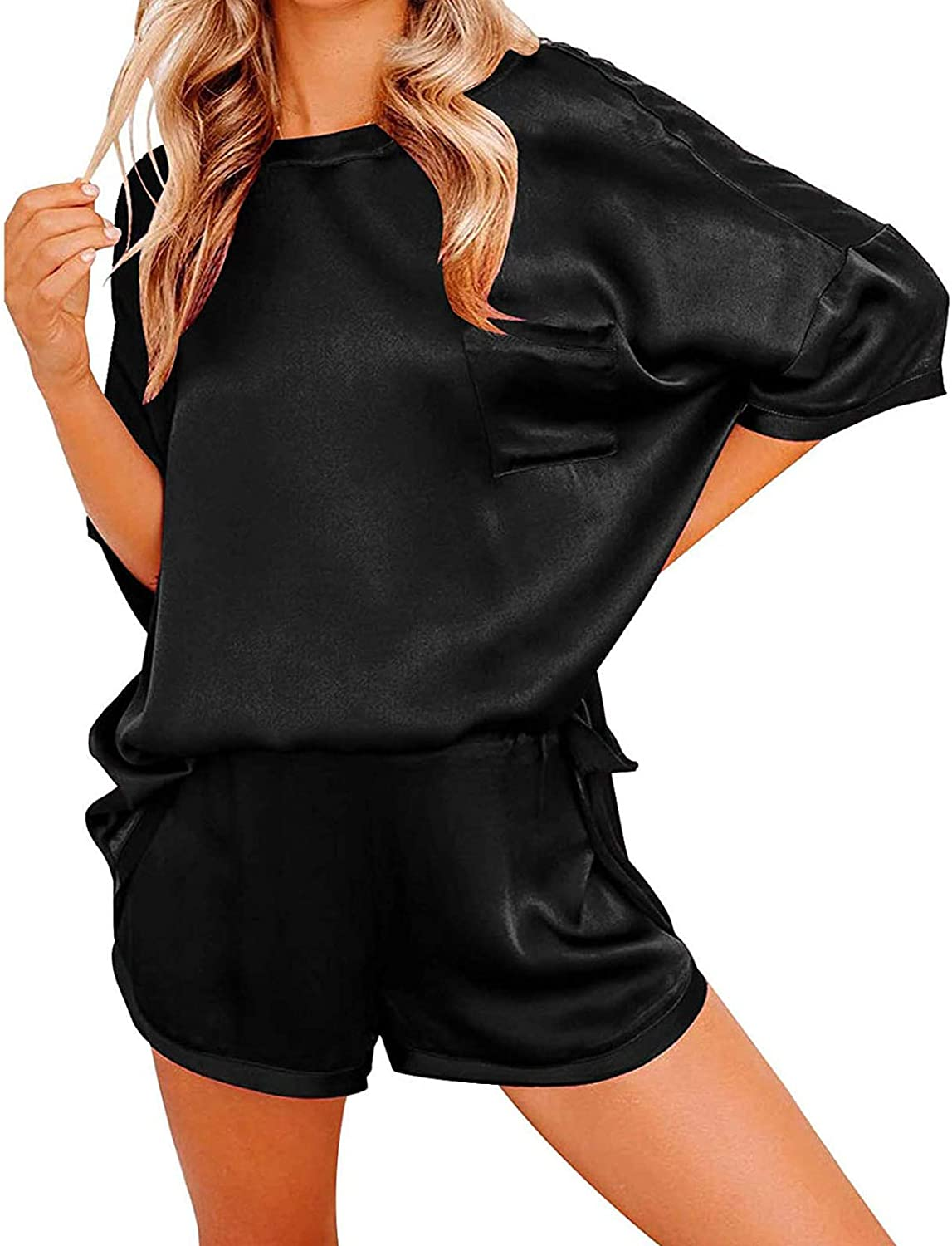 A2A Pajamas Set for Women Plus Size Two Piece Short Sleeve Silk Satin Sleepwear Lounge Wear Sexy Breathable Lingerie