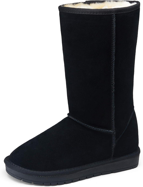 Vepose Women's Winter Boots Suede Snow Booties Warm Mid Calf Booties Classic Winter Knee High Shoes