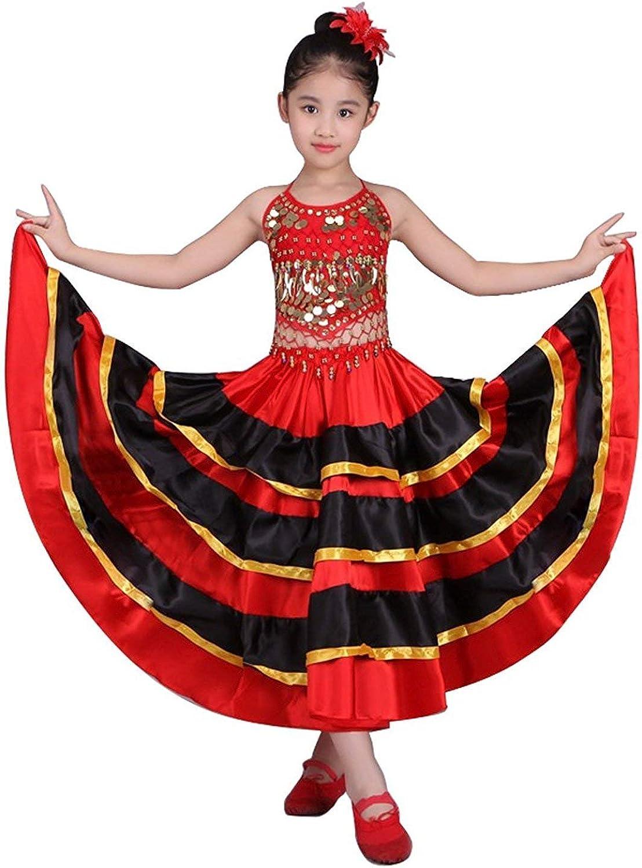 LOLANTA Disfraz de Bailarina española para niña Disfraz de Flamenca Vestido de Falda de Danza del Vientre: Amazon.es: Ropa y accesorios