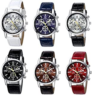 Yunanwa 6 Pack Men's Leather Quartz Watch Geneva Boys Casual Dress Wrist Band Watches Wholesale Lots Set
