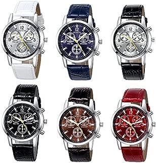 6 Pack Men's Leather Quartz Watch Geneva Boys Casual Dress Wrist Band Watches Wholesale Lots Set