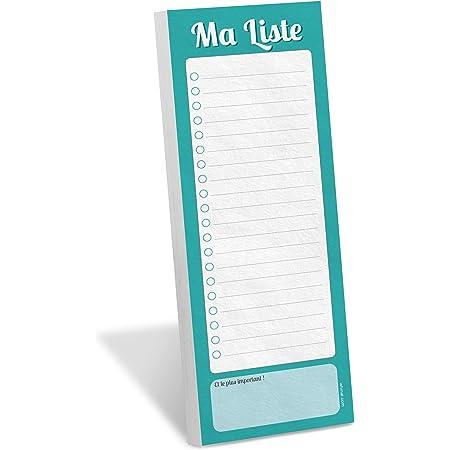 Feuilles d/étachables 10 x 21 cm Liste de courses magn/étique frigo avec crayon Erik/® Bloc-notes Magn/étique Pusheen